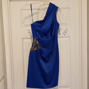 Blue Embellished One Shoulder Evening Dress